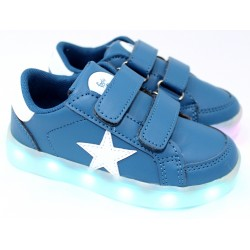 Zapatilla Con Luces Recargables Color Azul-  Footy