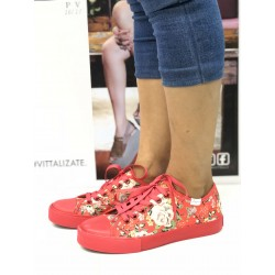 Zapatilla Lona Estampada Color Coral - Jaguar