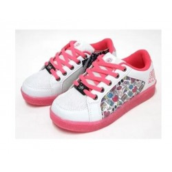 Footy - 233- Zapatilla Blanco/fucsia Estampada C/ Luz Led Lateral